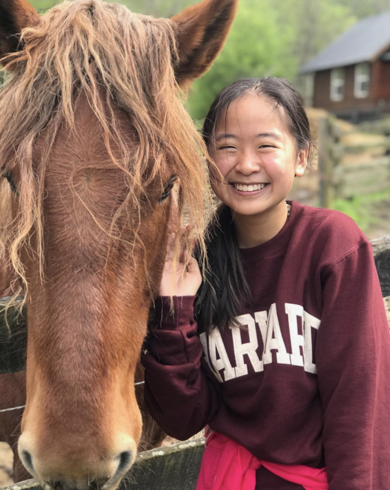 Student posing with a Harvard sweatshirt next to a horse
