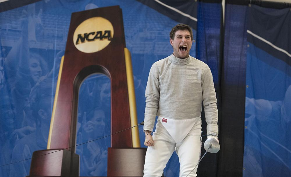 student winning award for fencing