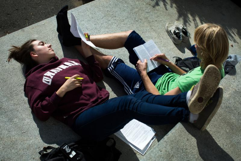 2 students studying